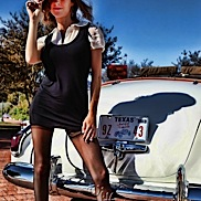 Amy and a Vintage Caddy