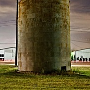 Corrugated Silo at Night